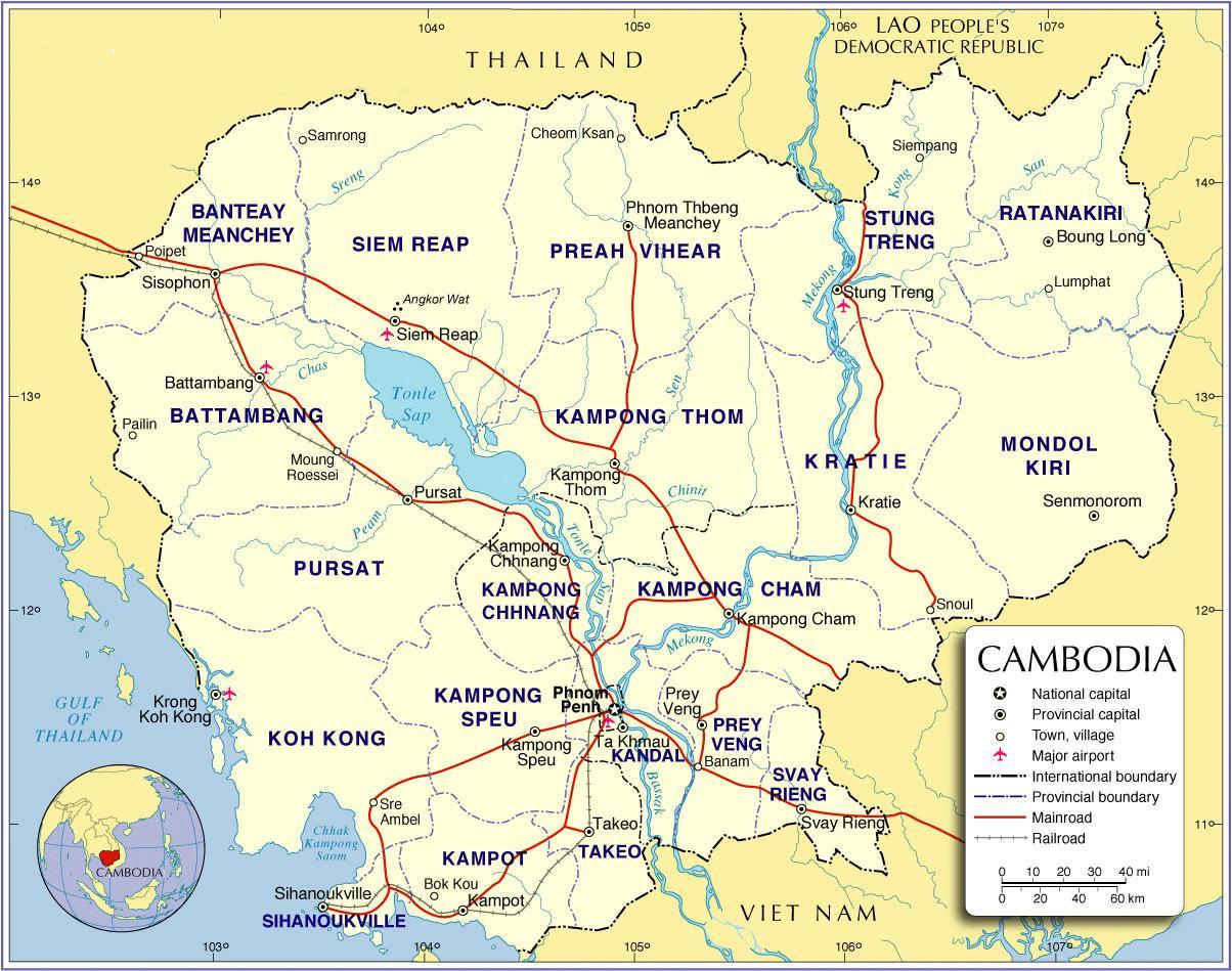 Kambodza Road Map Kartta Kambodza Road Etela Ita Aasia Aasia
